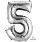 """Number 5 Silver SuperShape Foil Balloons 21""""/53cm w x 34""""/86cm h P50 - 5 PC"""