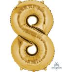 """Number 8 Gold SuperShape Foil Balloons 22""""/55cm w x 35""""/88cm h P50 - 5 PC"""