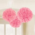 Light Pink Fluffy Tissue Paper Decorations 40.6cm - 12 PKG/3