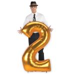 "Number 2 Gold Jumbo SuperShape Foil Balloons 31""/78cm w x 53""/1.34m h L53 - 3 PC"