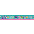 Baby Shower Holographic Foil Banners 2.7m - 12 PC