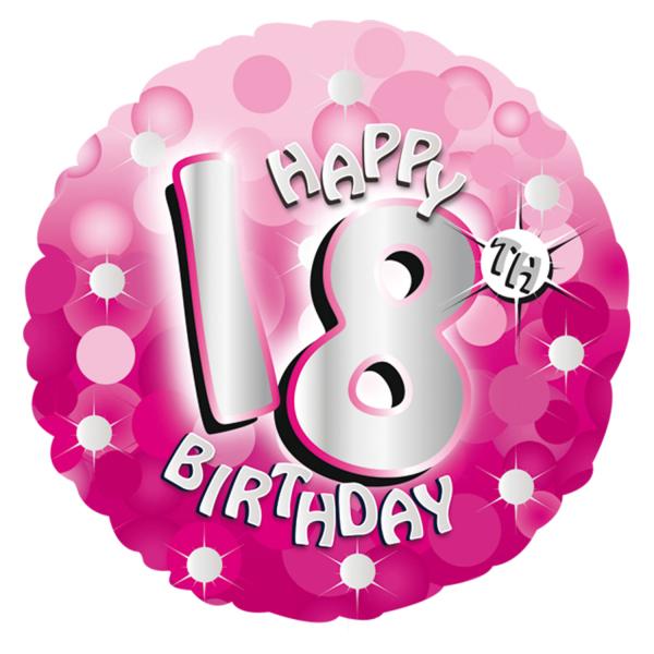 "Pink Happy 18th Birthday Balloon: Pink Sparkle Age 18 18th 18"" Birthday Helium Foil Balloon"