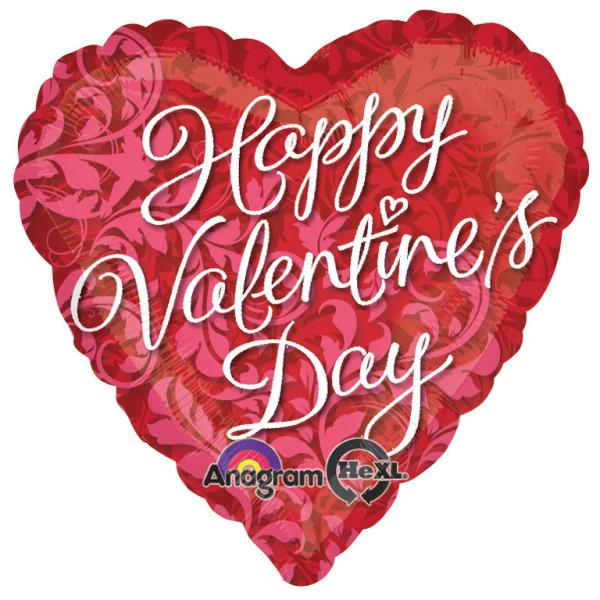 Happy Valentine S Day Elegant Swirls Standard Foil Balloon S40 5
