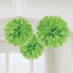 Kiwi Green Paper Fluffy Decorations 40cm - 6 PKG/3