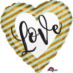 Wedding Love Stripes Standard Foil Balloons S40 - 5 PC