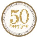 Sparkling Golden Anniversary Prismatic Paper Plates 23cm - 6 PKG/8