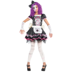 Children Damaged Doll Costume - Age 8-10 Years - 1 PC