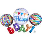 "Happy Birthday Multi Foil Balloons 56""/142cm w x 36""/91cm h P80 - 5 PC"