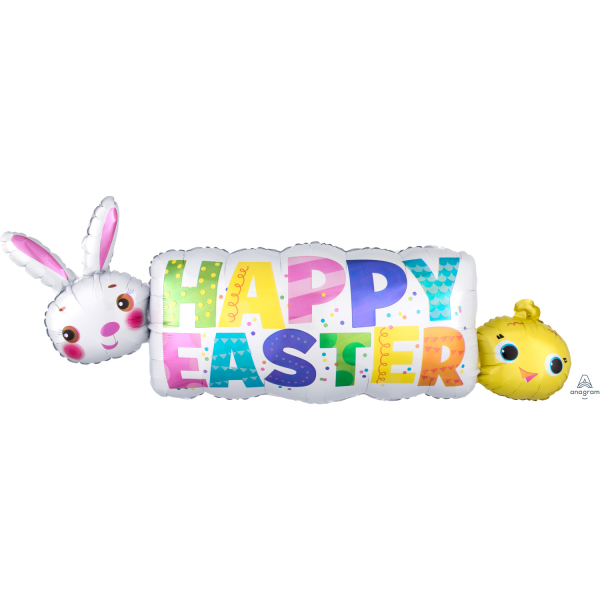 Happy Easter Banner SuperShape Foil Balloons - P35 5 PC