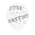 """Just Married White/Silver Latex Balloons 11""""/27.5cm - 10 PKG/6"""