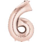 "Number 6 Rose Gold SuperShape Foil Balloons 22""/55cm w x 35""/88cm h P50 - 5 PC"