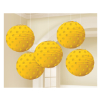 Sunshine Yellow Hot Stamped Paper Lanterns 12cm - 6 PKG/5