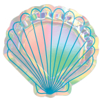 Mermaid Wishes Shell Shaped Foil Paper Plates 18cm - 12 PKG/8
