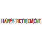 Happy Retirement Holographic Foil Banners 2.7m - 12 PC