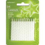 White Stripe Candles - 12 PKG/24