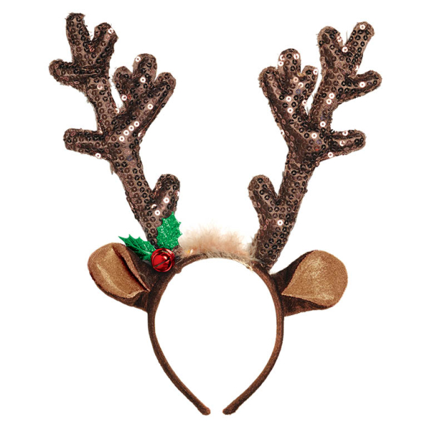 Christmas Headband Png.Brown Sequined Antler Headbands 8 Pc Amscan International