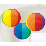 Rainbow Paper Lanterns 24cm - 6 PKG/3