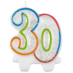 Milestone Birthday Candles 30th - 7.5cm - 6 PKG