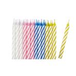 Assorted Stripe Candles - 12 PKG/24