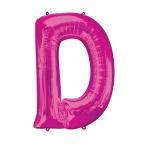 """Letter D Pink SuperShape Foil Balloons 34""""/""""86cm P50 - 5 PC"""