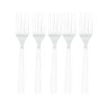 Frosty White Plastic Forks - 12 PKG/10