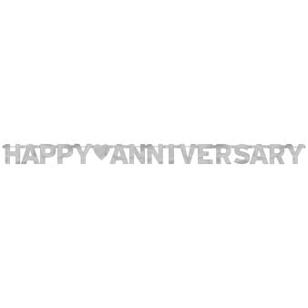 Happy Anniversary Silver Foil Letter Banners 2.3m x 15.8cm - 12 PC