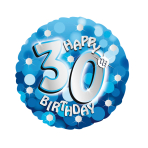 Blue Sparkle Party Happy Birthday 30th Standard Foil Balloons S40 - 5 PC