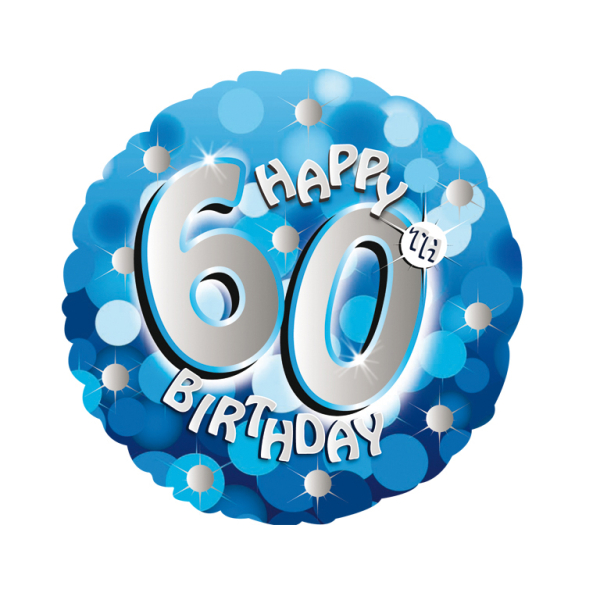 Blue Sparkle Party Happy Birthday 60th Standard Foil Balloons S40