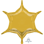 "Metallic Gold 6 Point Star Standard Unpackaged Foil Balloons w x 20""/50cm h D32 - 3 PC"