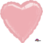 Metallic Pearl Pastel Pink Heart Standard Packaged Foil Balloons S15 - 5 PC