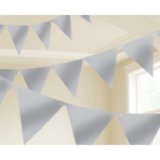 Silver Pennant Bunting 4.5m x 16cm - 6 PC