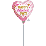 """Happy Valentine's Day Pink & Gold Mini Foil Balloons 4""""/10cm A10 - 5 PC"""