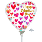 Happy Valentine's Day Painterly Hearts Mini Foil Balloons A15 - 5 PC