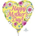 Mother's Day Yellow Mini-Shape Air-Filled Foil Balloons A15 - 5 PC