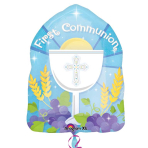 """1st Communion Blue JuniorShape 14""""/36cm w x 18""""/46cm h - S40 5 PC"""