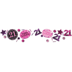 Pink Sparkling Celebration 21st 3 Pack Value Confetti 34g - 12 PC