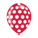 "White Polka Dots On Assorted Colours Latex Balloons 11""/27.5cm - 10 PKG/6"