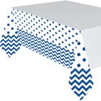 Bright Royal Blue Chevron Plastic Tablecovers 1.37m x 2.6m - 6 PC