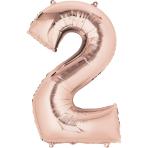 "Number 2 Rose Gold SuperShape Foil Balloons 20""/50cm w x 35""/88cm h P50 - 5 PC"