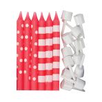Bright Pink Dots & Stripes Candles - 12 PKG/12