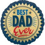 Best Dad Ever Gold Stamp Standard HX Foil Balloons S40 - 5 PC