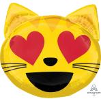"""Cat Love Emoticon SuperShape Foil Balloons 22""""/55cm w x 22""""/55cm h P35 - 5 PC"""
