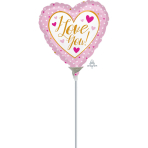 """I Love You Pink & Gold Mini Foil Balloons 4""""/10cm A10 - 5 PC"""