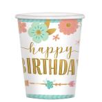 Boho Birthday Girl Paper Cups 266ml - 12 PKG/8