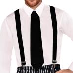 Black Retro Suspenders - 6 PC
