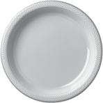 Silver Sparkle Plastic Plates 22.8cm - 10 PKG/20