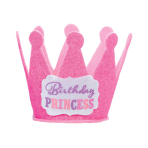 Birthday Princess Mini Glitter Hats - 12 PC