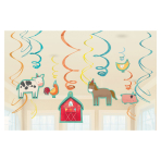 Barnyard Birthday Swirl Decorations - 12 PKG/12