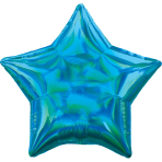 Cyan Iridescent Star Standard HX Packaged Foil Balloons S40 - 5 PC