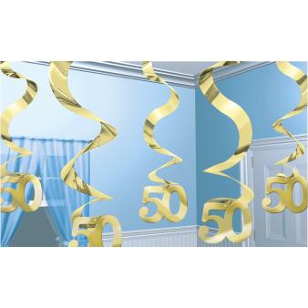 Golden Anniversary Wishes Streaming Swirls Decorations - 6 PKG/5